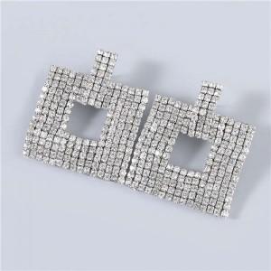 U.S Fashion Square Shape Hollow-out Glistening Rhinestone Inlaid Luxurious Women Wholesale Earrings - Silver