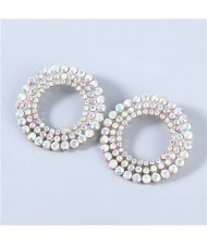 Super Shining Round Hollow-out Triple Layers Rhinestone Luxurious Women Hoop Earrings - Luminous