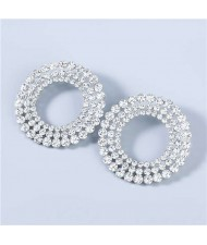 Super Shining Round Hollow-out Triple Layers Rhinestone Luxurious Women Hoop Earrings - White