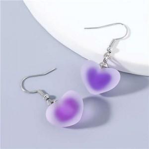 Candy Matte Heart Shape Design U.S Fashion Party Wholesale Jewelry Women Fish Hook Earrings - Purple