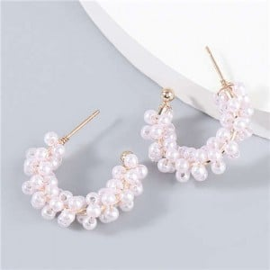 Korean Creative C-shape Wholesale Jewelry Artificial Pearl Inlaid Luxurious Bold Party Women Fashion Earrings