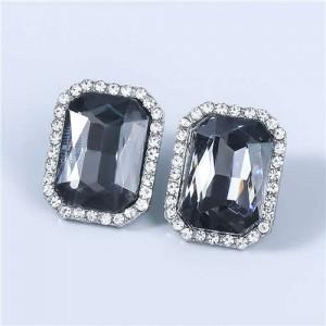 Street Fashion Square Shape Wholesale Jewelry Rhinestone Rimmed U.S Vintage Women Earrings - Black