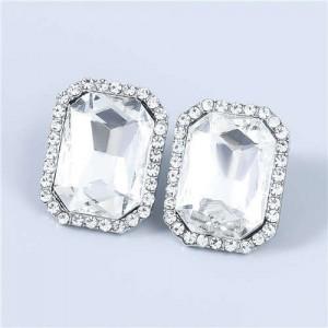 Street Fashion Square Shape Wholesale Jewelry Rhinestone Rimmed U.S Vintage Women Earrings - White