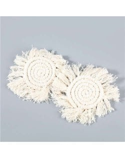 Bohemian Wholesale Jewelry Weaving Cotton Floral Tassel Design Vintage Fashion Women Costume Earrings - White