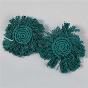 Bohemian Wholesale Jewelry Weaving Cotton Floral Tassel Design Vintage Fashion Women Costume Earrings - Green