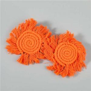 Bohemian Wholesale Jewelry Weaving Cotton Floral Tassel Design Vintage Fashion Women Costume Earrings - Orange