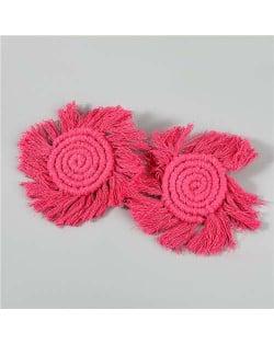Bohemian Wholesale Jewelry Weaving Cotton Floral Tassel Design Vintage Fashion Women Costume Earrings - Rose