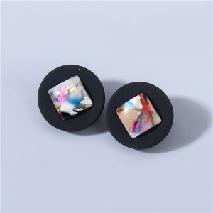 Bohemian Vintage Style Colorful Square Centered Classic Design Wholesale Jewelry Women Ear Studs