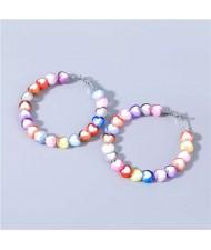 Sweet Style Colorful Hearts Shape Design Party Fashion Wholesale Jewelry Women Hoop Earrings