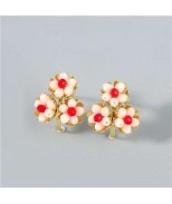 U.S. Fashion Wholesale Jewelry Fan-shaped Floral Design Women Alloy Earrings - Red