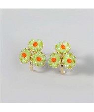 U.S. Fashion Wholesale Jewelry Fan-shaped Floral Design Women Alloy Earrings - Orange