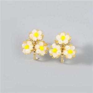 U.S. Fashion Wholesale Jewelry Fan-shaped Floral Design Women Alloy Earrings - Yellow