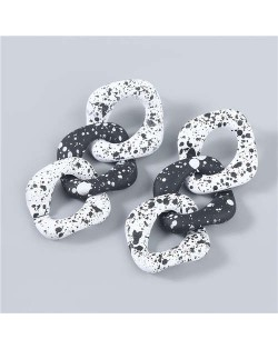 Black and White Dots Multi-layer Geometric Chain Design Wholesale Jewelry Vintage Fashion Women Earrings - White