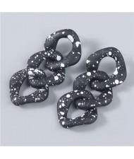 Black and White Dots Multi-layer Geometric Chain Design Wholesale Jewelry Vintage Fashion Women Earrings - Black