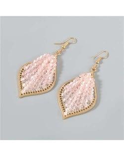 Vintage Leaf-shape Pink Beads Inlaid Party Wholesale Jewelry Vintage Elegant Women Fish Hook Earrings