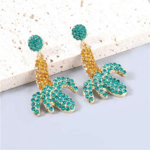 Banana Design Yellow and Green Rhinestone Inlaid Women Wholesale Earrings