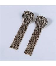U.S Fashion Geometric Shape Wholesale Jewelry Rhinestone Tassel Design Surper Shining Women Luxurious Earrings - Black