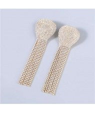 U.S Fashion Geometric Shape Wholesale Jewelry Rhinestone Tassel Design Surper Shining Women Luxurious Earrings - Luminous White