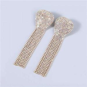 U.S Fashion Geometric Shape Wholesale Jewelry Rhinestone Tassel Design Surper Shining Women Luxurious Earrings - Golden