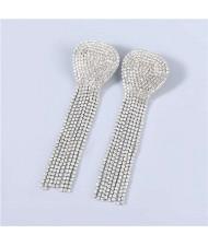 U.S Fashion Geometric Shape Wholesale Jewelry Rhinestone Tassel Design Surper Shining Women Luxurious Earrings - Silver