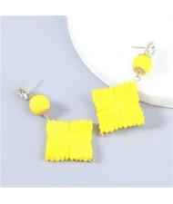Bohemian Vintage Minimalist Square Design Women Resin Dangle Earrings - Yellow