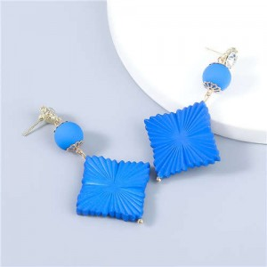 Bohemian Vintage Minimalist Square Design Women Resin Dangle Earrings - Blue