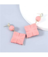 Bohemian Vintage Minimalist Square Design Women Resin Dangle Earrings - Pink