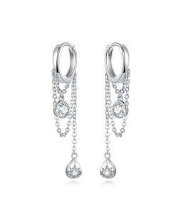 Wholesale 925 Sterling Silver Jewelry Chain Tassel Design Cubic Zirconia Huggie Earrings