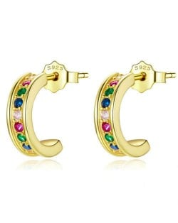 Mini Crescent Colorful Cubic Zirconia Inlaid Wholesale 925 Sterling Silver Earrings - Golden