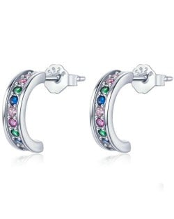 Mini Crescent Colorful Cubic Zirconia Inlaid Wholesale 925 Sterling Silver Earrings - Silver
