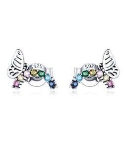 Cute Butterfly Fashion Cubic Zirconia Wholesale 925 Sterling Silver Ear Studs