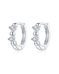 Elegant Design Wholesale 925 Sterling Silver Jewelry Cubic Zirconia Huggie Earrings