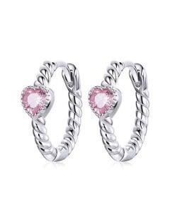 Glistening Heart Shape Pink Cubic Ziconia Wholesale 925 Sterling Silver Huggie Earrings
