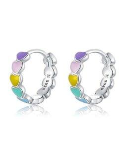 Cute Design Colorful Peach Hearts Oil-spot Glazed Wholesale 925 Sterling Silver Huggie Earrings
