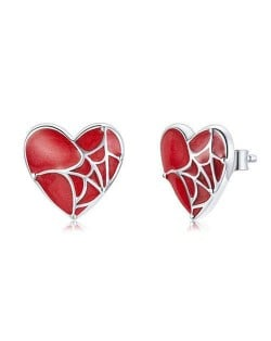 Romantic Spider Web Over Red Heart Wholesale 925 Sterling Silver Earrings