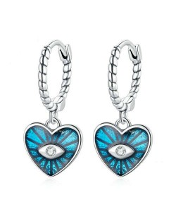 Demon Shining Eye Heart Dangle Oil-spot Glazed Wholesale 925 Sterling Silver Jewelry Huggie Earrings - Blue
