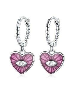 Demon Shining Eye Heart Dangle Oil-spot Glazed Wholesale 925 Sterling Silver Jewelry Huggie Earrings - Pink