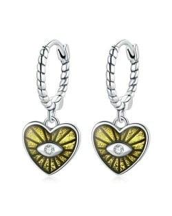 Demon Shining Eye Heart Dangle Oil-spot Glazed Wholesale 925 Sterling Silver Jewelry Huggie Earrings - Yellow