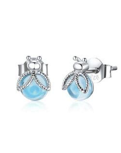 Cute Firefly Blue Glass Gem Wholesale 925 Sterling Silver Women Ear Studs