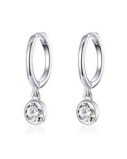 Classic Design Cubic Zirconia Pendant Wholesale 925 Sterling Silver Huggie Hoop Earrings