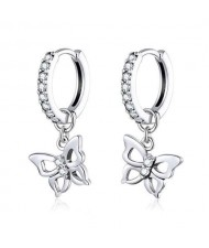 Sparkling Cubic Zirconia Decorated Hollow Butterfly 925 Sterling Silver Wholesale Earrings