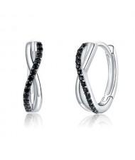 Black Cubic Zirconia Embellished Infinity Sign Wholesale 925 Sterling Silver Jewelry Huggie Earrings