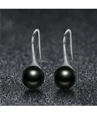 Wholesale 925 Sterling Silver Jewelry Minimalist Design Pearl Fish Hook Women Earrings - Black