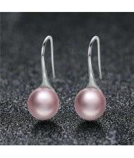 Wholesale 925 Sterling Silver Jewelry Minimalist Design Pearl Fish Hook Women Earrings - Pink