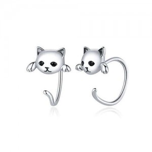 Cute Cat with Black Eyes Unique Design Wholesale 925 Sterling Silver Animal Earrings