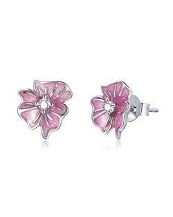 Elegant Pink Flower Wholesale 925 Sterling Silver Jewelry Cubic Zirconia Wedding Ear Studs