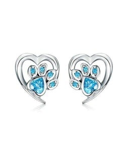 Wholesale Cubic Zirconia Jewelry Animal Footprint Style Heart 925 Sterling Silver Earings - Blue