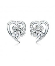 Wholesale Cubic Zirconia Jewelry Animal Footprint Style Heart 925 Sterling Silver Earings - White