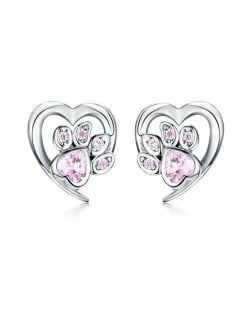 Wholesale Cubic Zirconia Jewelry Animal Footprint Style Heart 925 Sterling Silver Earings - Pink