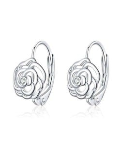 Cubic Zirconia Embellished Hollow-out Three-dimensional Rose Wholesale 925 Sterling Silver Jewelry Huggie Earrings